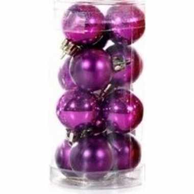 Plastic paarse kerstballen 12 stuks 3 cm