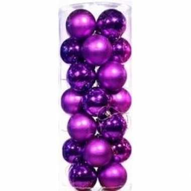 Plastic paarse kerstballen 28 stuks 6 cm