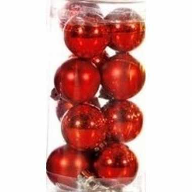 Plastic rode kerstballen 12 stuks 3 cm