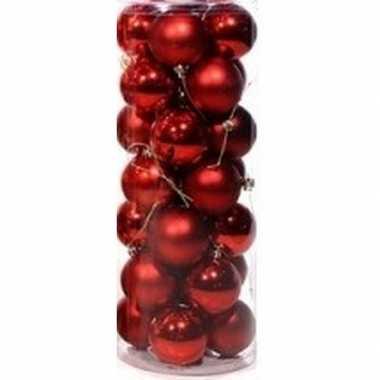 Plastic rode kerstballen 28 stuks 6 cm