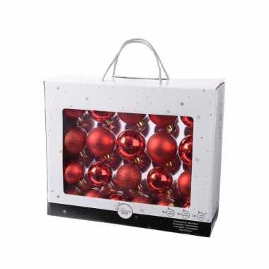 Plastic rode kerstversiering kerstballen set 42 delig van kunststof