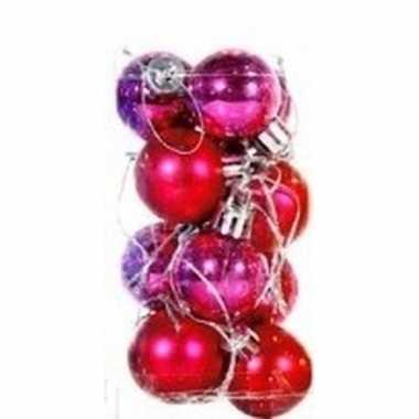 Plastic roze kerstballen 12 stuks 3 cm