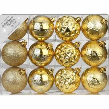 Plastic set van 12 luxe gouden kerstballen 6 cm kunststof mat/glans