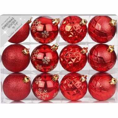 Plastic set van 12 luxe rode kerstballen 6 cm kunststof mat/glans