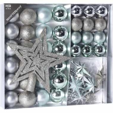 Plastic zilver/ijsblauwe kerstversiering kerstballen set 45 delig