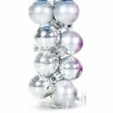 Plastic zilveren kerstballen 12 stuks 3 cm