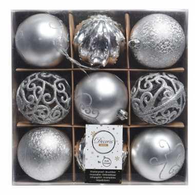 Plastic zilveren kerstversiering kerstballen set van kunststof 9 stuk