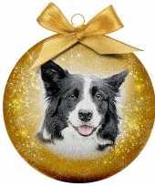 Plastic 1x kunststof dieren kerstballen met border collie hond 8 cm