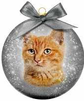 Plastic 1x kunststof dieren kerstballen met rode kat poes 8 cm
