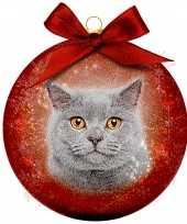 Plastic 1x kunststof rode dieren kerstballen met grijze kat poes 8 cm