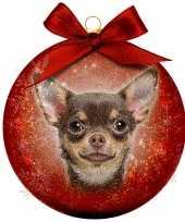 Plastic 1x rode kunststof dieren kerstballen met chihuahua hond 8 cm