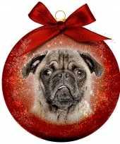 Plastic 1x rode kunststof dieren kerstballen met mopshond pug 8 cm