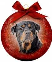 Plastic 1x rode kunststof dieren kerstballen met rottweiler hond 8 cm