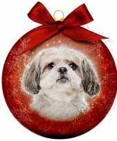 Plastic 1x rode kunststof dieren kerstballen met shih tzu hond 8 cm