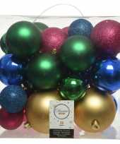 Plastic 26 stuks kunststof gekleurde mix kerstballen 6 8 10 cm