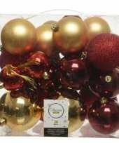 Plastic 26 stuks kunststof kerstballen mix goud rood 6 8 10 cm
