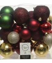 Plastic 26 stuks kunststof kerstballen mix rood groen goud parel 6 8 10 cm