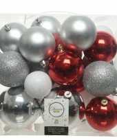 Plastic 26 stuks kunststof kerstballen mix zilver rood wit 6 8 10 cm