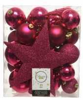 Plastic 33x bessen roze kerstballen met ster piek 5 6 8 cm kunststof mi