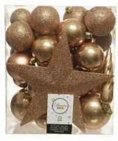 Plastic 33x camel bruine kerstballen met ster piek 5 6 8 cm kunststof mix