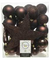 Plastic 33x donkerbruine kerstballen met ster piek 5 6 8 cm kunststof mi