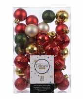 Plastic 33x kerstversiering kerstballen mix rood champagne goud groen