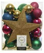 Plastic 33x kunststof kerstballen goud blauw roze groen inclusief piek