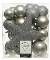 Plastic 33x licht grijze kerstballen met ster piek 5 6 8 cm kunststof mi