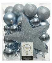 Plastic 33x lichtblauwe kerstballen met ster piek 5 6 8 cm kunststof mi