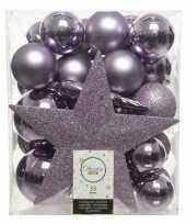 Plastic 33x lila paarse kerstballen met ster piek 5 6 8 cm kunststof mi