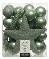 Plastic 33x salie groene kerstballen met ster piek 5 6 8 cm kunststof mi