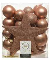 Plastic 33x zacht terra bruine kerstballen met ster piek 5 6 8 cm kunsts