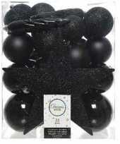 Plastic 33x zwarte kerstballen met ster piek 5 6 8 cm kunststof mix