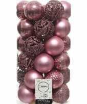 Plastic 37x oud roze kerstballen 6 cm kunststof mix