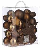 Plastic 39x kunststof kerstballen 8 cm met ster piek licht koper