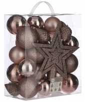 Plastic 39x kunststof kerstballen 8 cm met ster piek lichtroze