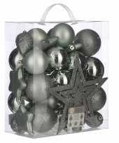 Plastic 39x kunststof kerstballen 8 cm met ster piek mint groen