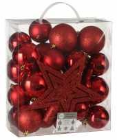 Plastic 39x kunststof kerstballen 8 cm met ster piek rood
