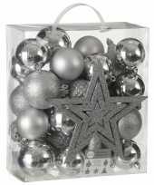 Plastic 39x kunststof kerstballen 8 cm met ster piek zilver