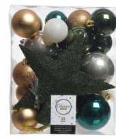Plastic dennengroen goud wit kerstballen pakket met piek 33 stuks