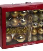 Plastic gouden kerstversiering kerstballen set 48 delig kunststof