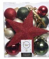 Plastic groen goud rood kerstballen pakket met piek 33 stuks