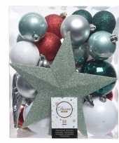 Plastic groen zilver wit kerstballen pakket met piek 33 stuks