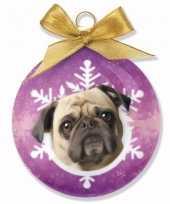 Plastic huisdieren kerstballen hondjes mops