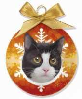 Plastic huisdieren kerstballen kat zwart wit