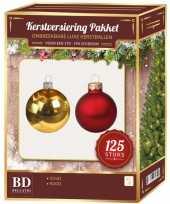 Plastic kerstballen en piek set 125 dlg kunststof 180 cm boom rood goud