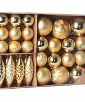 Plastic kerstballen ornamenten pakket 31x gouden kunststof kerstballen mix