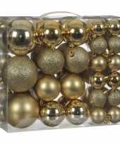 Plastic kerstballenpakket 46x gouden kunststof kerstballen mix