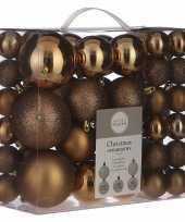 Plastic kerstballenpakket 46x licht koperen kunststof kerstballen mix
