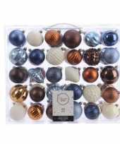 Plastic kerstversiering kerstballen set blauw bruin en wit 60 delig